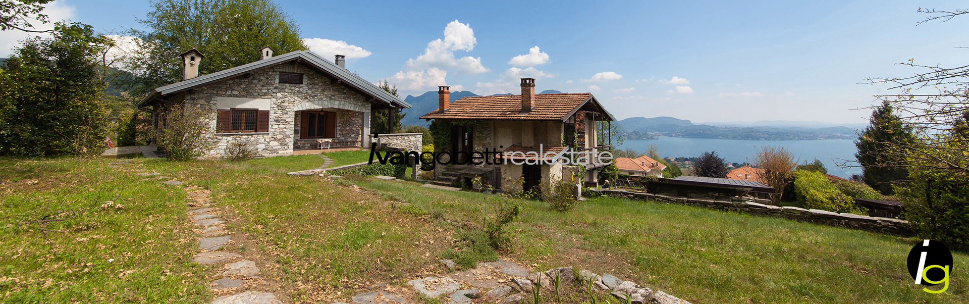 Steinvilla zu verkaufen mit Blick auf den Maggiore See, Verbania