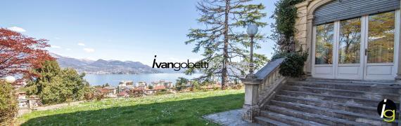 Zu verkaufen, historische Villa mit Park in Stresa, Maggiore See